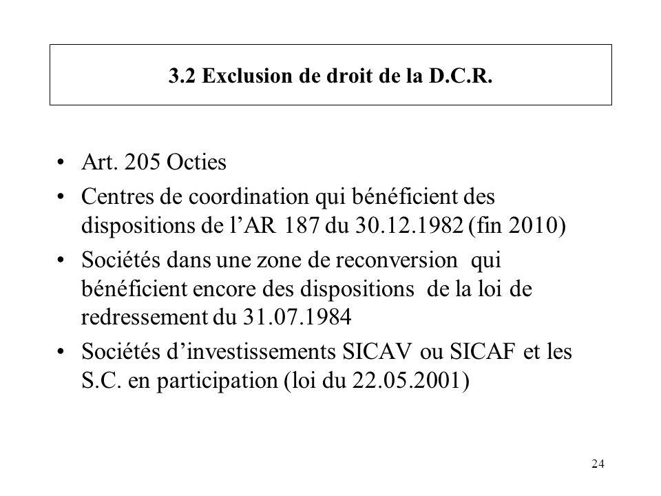 24 3.2 Exclusion de droit de la D.C.R. Art. 205 Octies Centres de coordination qui bénéficient des dispositions de lAR 187 du 30.12.1982 (fin 2010) So