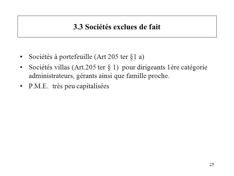 25 3.3 Sociétés exclues de fait Sociétés à portefeuille (Art 205 ter §1 a) Sociétés villas (Art.205 ter § 1) pour dirigeants 1ère catégorie administra