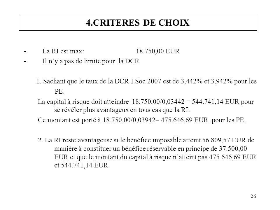 26 4.CRITERES DE CHOIX -La RI est max:18.750,00 EUR -Il ny a pas de limite pour la DCR 1. Sachant que le taux de la DCR I.Soc 2007 est de 3,442% et 3,