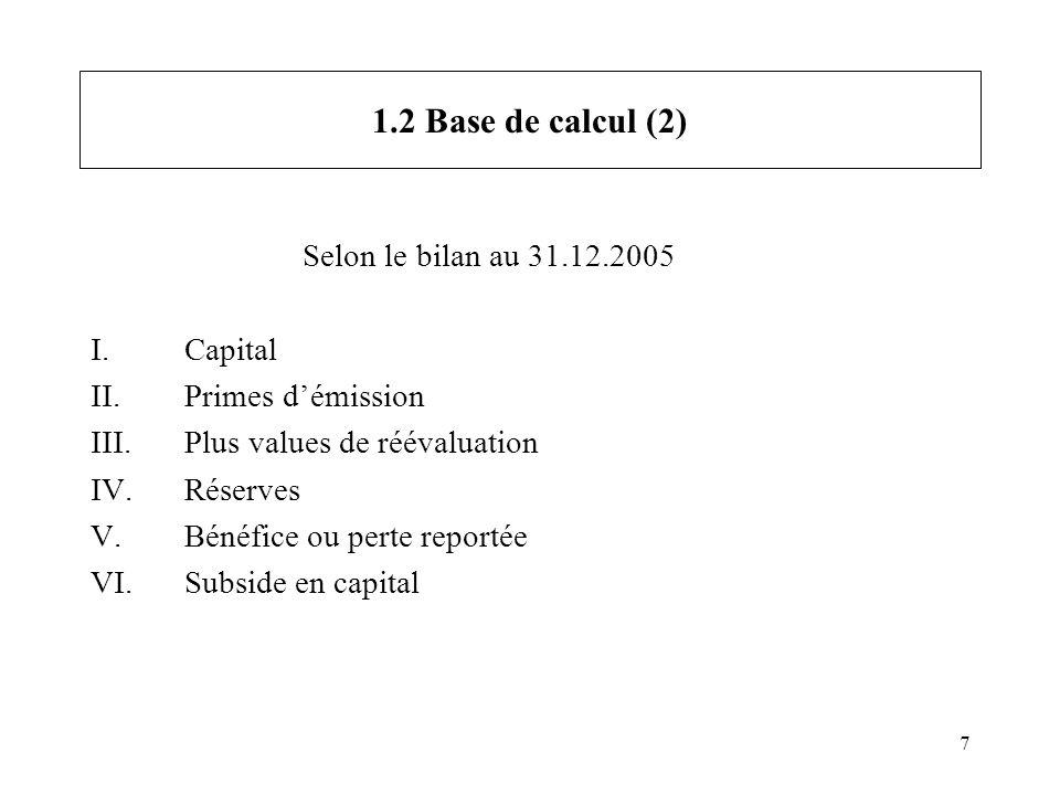 7 1.2 Base de calcul (2) Selon le bilan au 31.12.2005 I.Capital II.Primes démission III.Plus values de réévaluation IV.Réserves V.Bénéfice ou perte re