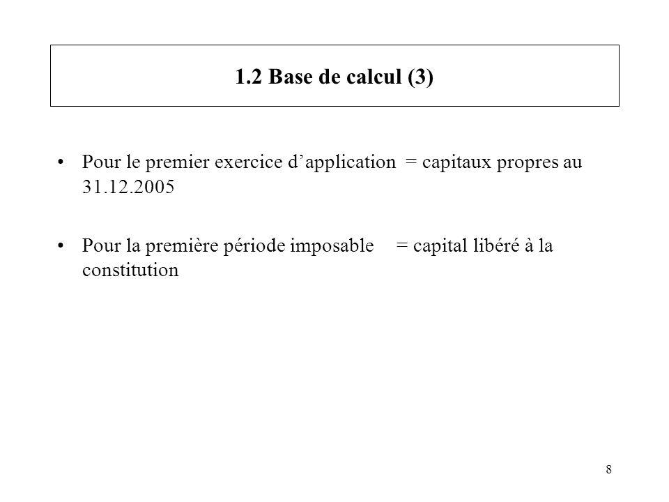 8 1.2 Base de calcul (3) Pour le premier exercice dapplication = capitaux propres au 31.12.2005 Pour la première période imposable = capital libéré à