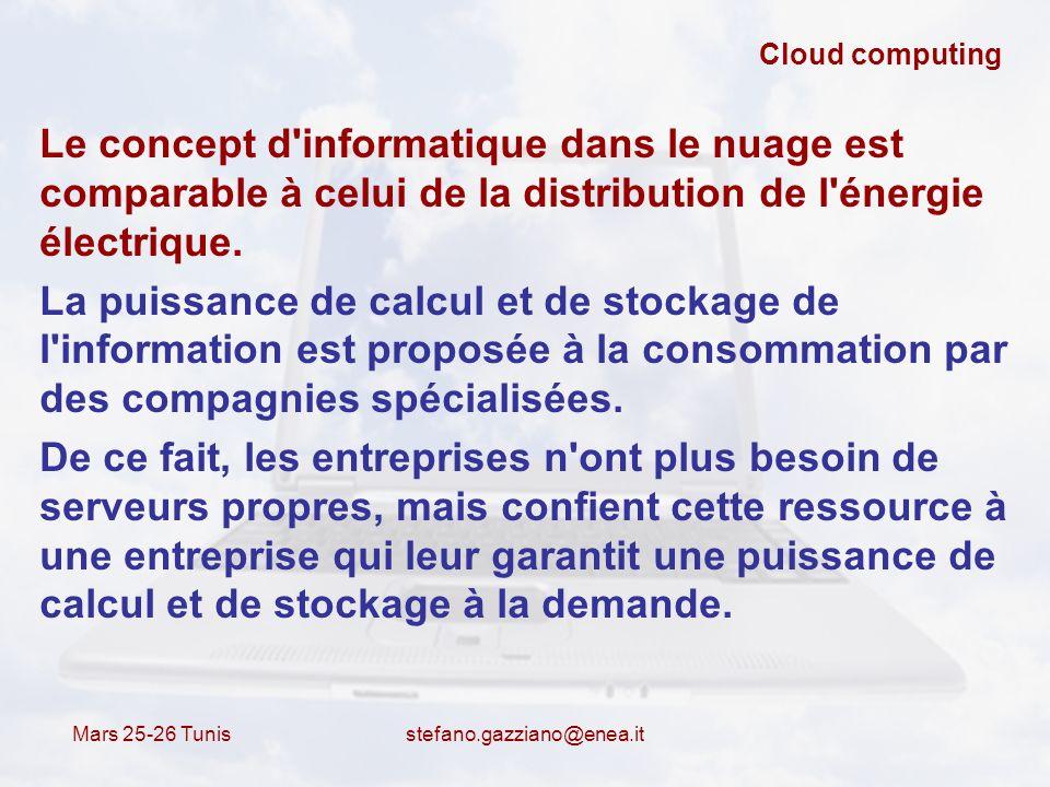 Mars 25-26 Tunis stefano.gazziano@enea.it Cloud computing Le concept d'informatique dans le nuage est comparable à celui de la distribution de l'énerg