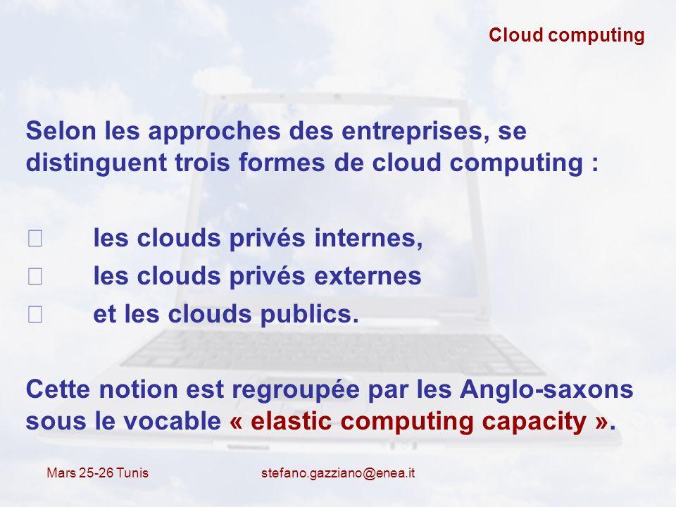 Mars 25-26 Tunis stefano.gazziano@enea.it Cloud computing Selon les approches des entreprises, se distinguent trois formes de cloud computing : les cl