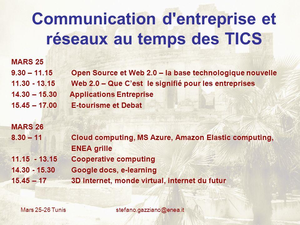 Mars 25-26 Tunis stefano.gazziano@enea.it Cloud computing Avantages Optimiser les coûts par rapport aux systèmes conventionnels et de développer des applications partagées sans avoir besoins de posséder ses propres machines dédiées au calcul.