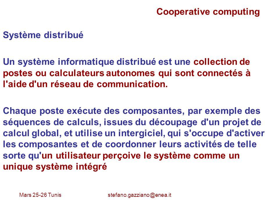 Mars 25-26 Tunis stefano.gazziano@enea.it Cooperative computing Système distribué Un système informatique distribué est une collection de postes ou ca