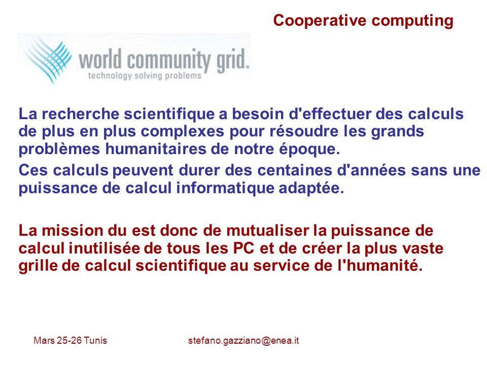 Mars 25-26 Tunis stefano.gazziano@enea.it Cooperative computing La recherche scientifique a besoin d'effectuer des calculs de plus en plus complexes p