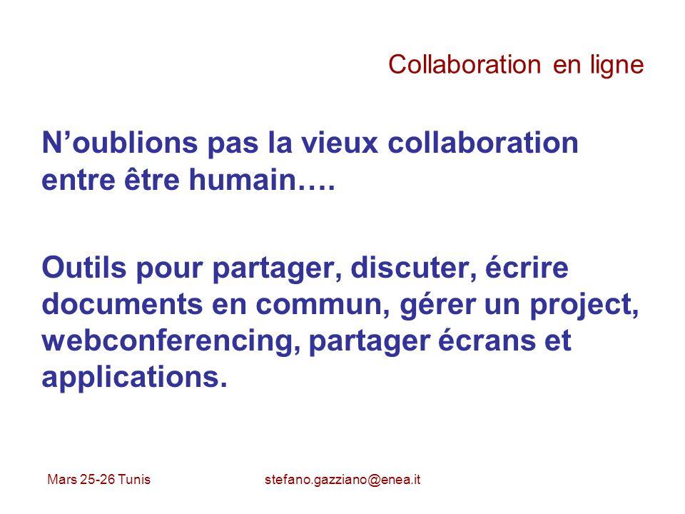 Mars 25-26 Tunis stefano.gazziano@enea.it Collaboration en ligne Noublions pas la vieux collaboration entre être humain…. Outils pour partager, discut
