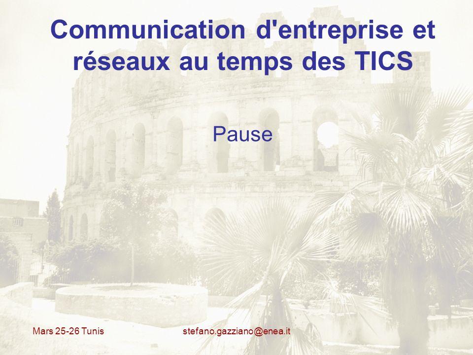 Mars 25-26 Tunis stefano.gazziano@enea.it Communication d'entreprise et réseaux au temps des TICS Pause