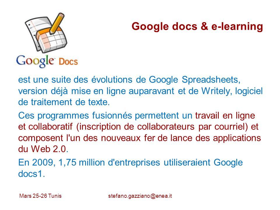 Google docs & e-learning est une suite des évolutions de Google Spreadsheets, version déjà mise en ligne auparavant et de Writely, logiciel de traitem
