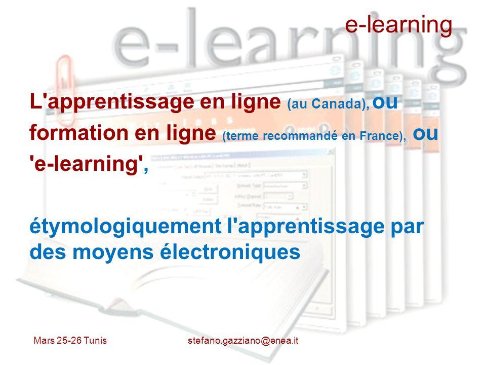 e-learning L'apprentissage en ligne (au Canada), ou formation en ligne (terme recommandé en France), ou 'e-learning', étymologiquement l'apprentissage