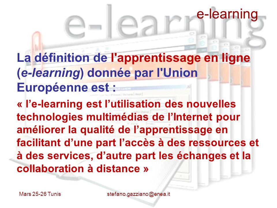 e-learning La définition de l'apprentissage en ligne (e-learning) donnée par l'Union Européenne est : « le-learning est lutilisation des nouvelles tec