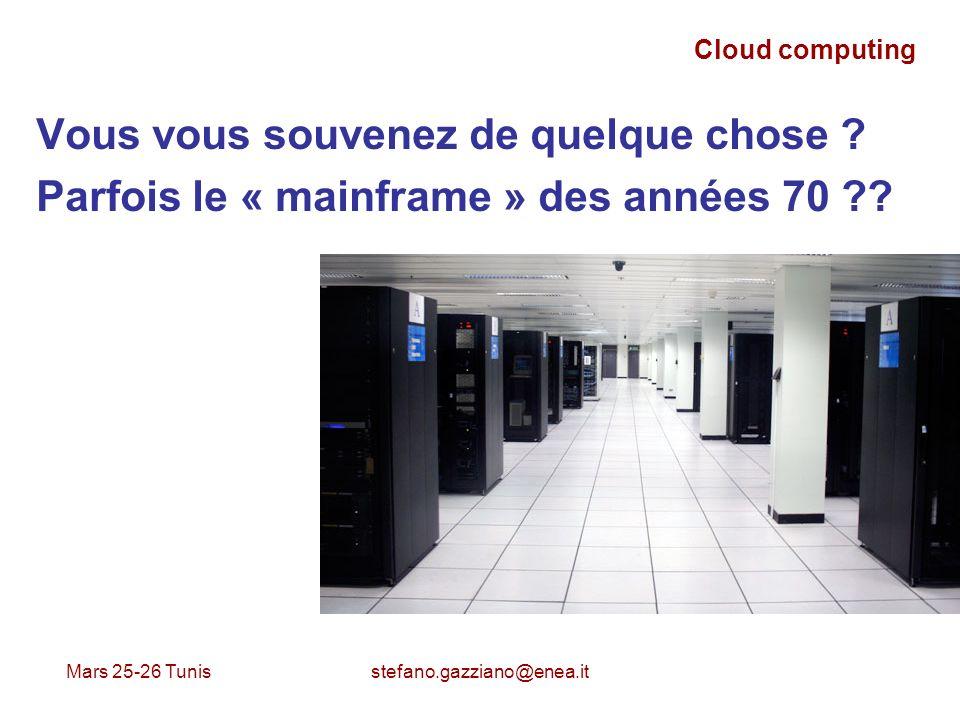 Mars 25-26 Tunis stefano.gazziano@enea.it Cloud computing Justement: Le mainframe est répandu pour le réseau