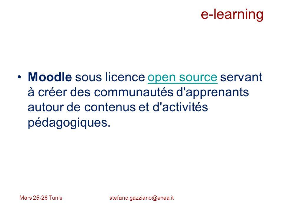 e-learning Moodle sous licence open source servant à créer des communautés d'apprenants autour de contenus et d'activités pédagogiques.open source Mar