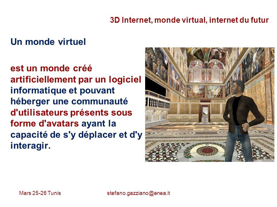 Mars 25-26 Tunis stefano.gazziano@enea.it 3D Internet, monde virtual, internet du futur Un monde virtuel est un monde créé artificiellement par un log