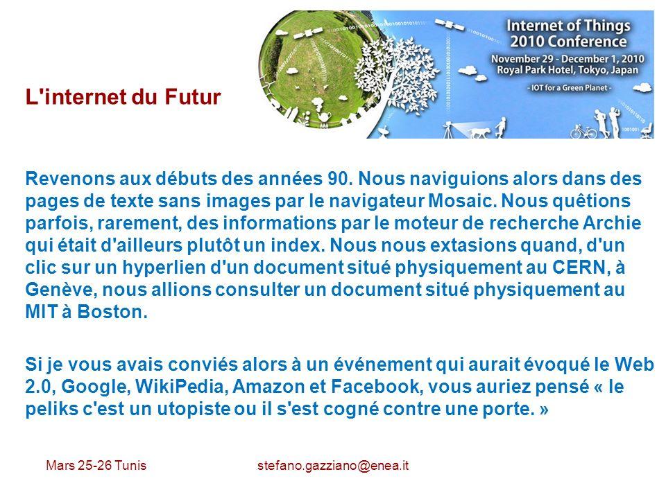 Mars 25-26 Tunis stefano.gazziano@enea.it L'internet du Futur Revenons aux débuts des années 90. Nous naviguions alors dans des pages de texte sans im