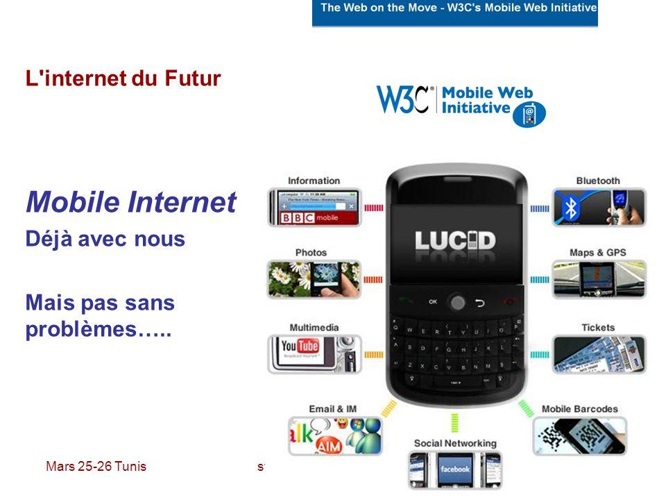 Mars 25-26 Tunis stefano.gazziano@enea.it L'internet du Futur Mobile Internet Déjà avec nous Mais pas sans problèmes…..