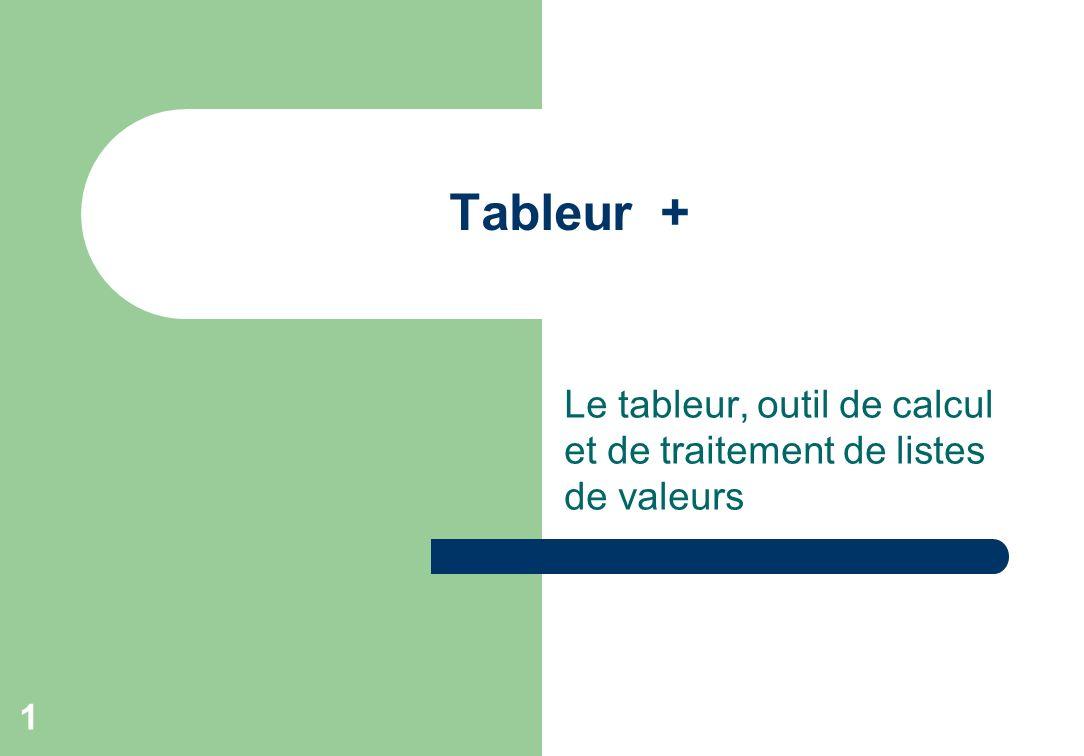 Le tableur, outil de calcul et de traitement de listes de valeurs 1 Tableur +
