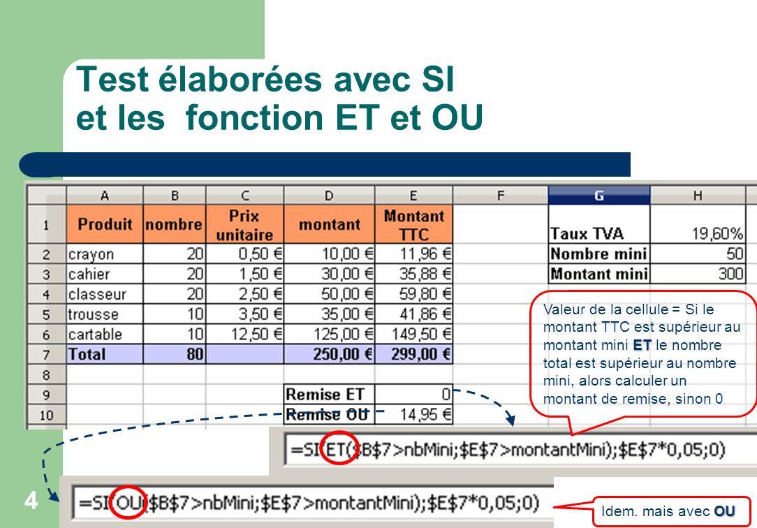 Test élaborées avec SI et les fonction ET et OU 4 ET Valeur de la cellule = Si le montant TTC est supérieur au montant mini ET le nombre total est supérieur au nombre mini, alors calculer un montant de remise, sinon 0 OU Idem.
