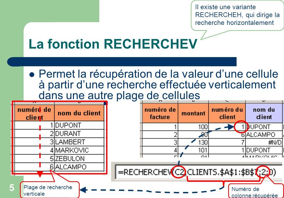 La fonction RECHERCHEV Permet la récupération de la valeur dune cellule à partir dune recherche effectuée verticalement dans une autre plage de cellules 5 Il existe une variante RECHERCHEH, qui dirige la recherche horizontalement Numéro de colonne récupérée Plage de recherche verticale