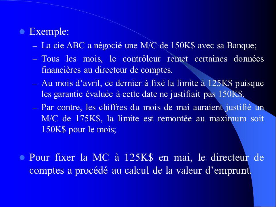 Exemple: – La cie ABC a négocié une M/C de 150K$ avec sa Banque; – Tous les mois, le contrôleur remet certaines données financières au directeur de co