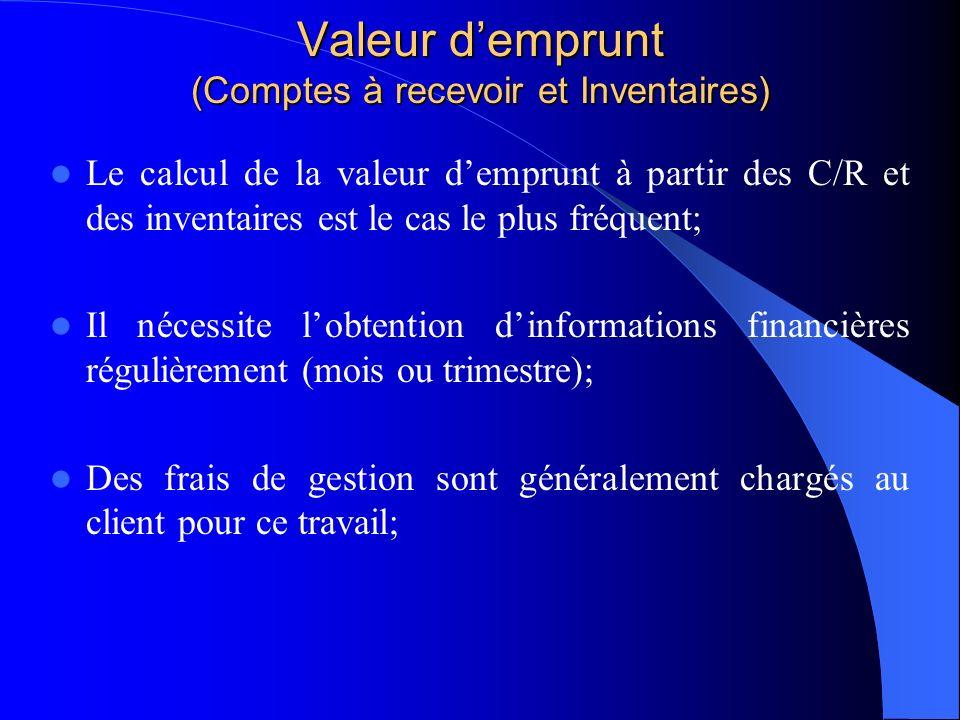 Valeur demprunt (Comptes à recevoir et Inventaires) Le calcul de la valeur demprunt à partir des C/R et des inventaires est le cas le plus fréquent; I