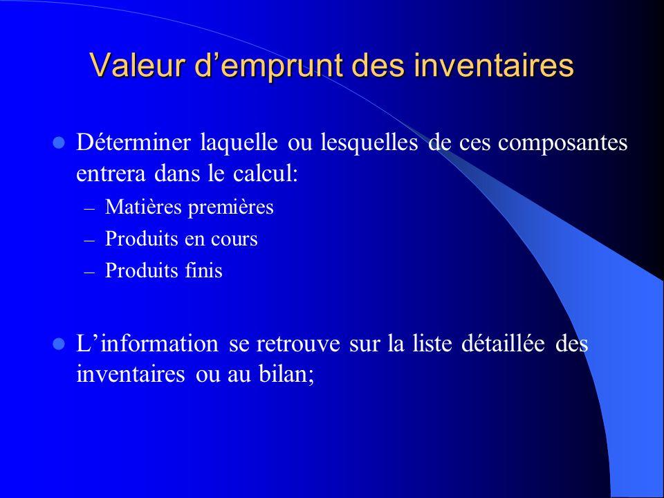 Valeur demprunt des inventaires Déterminer laquelle ou lesquelles de ces composantes entrera dans le calcul: – Matières premières – Produits en cours