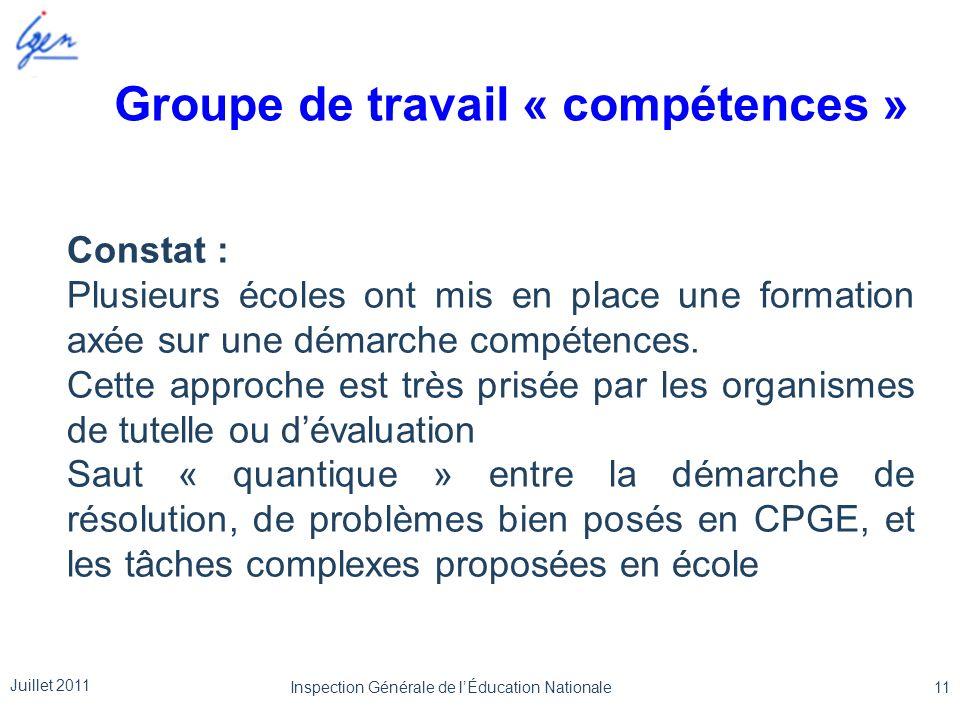 Groupe de travail « compétences » Constat : Plusieurs écoles ont mis en place une formation axée sur une démarche compétences. Cette approche est très
