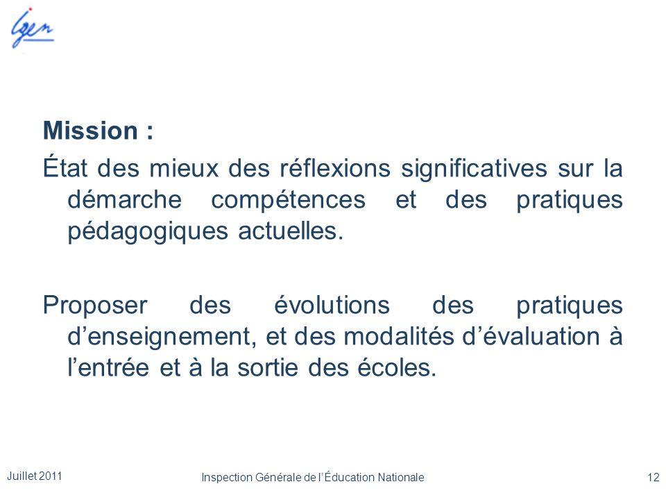 Mission : État des mieux des réflexions significatives sur la démarche compétences et des pratiques pédagogiques actuelles. Proposer des évolutions de