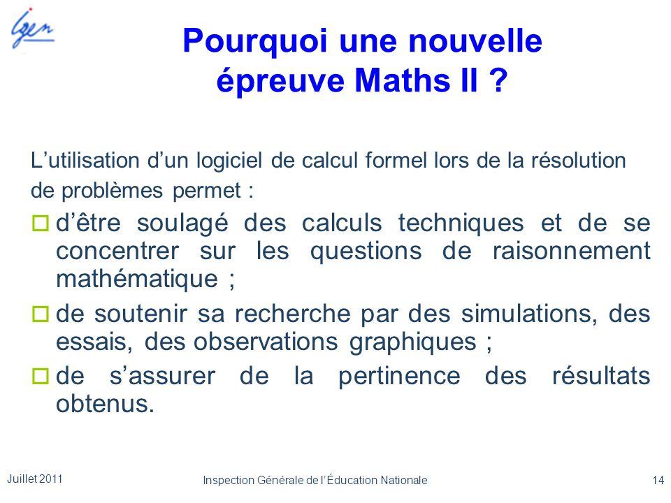 Pourquoi une nouvelle épreuve Maths II ? Lutilisation dun logiciel de calcul formel lors de la résolution de problèmes permet : dêtre soulagé des calc