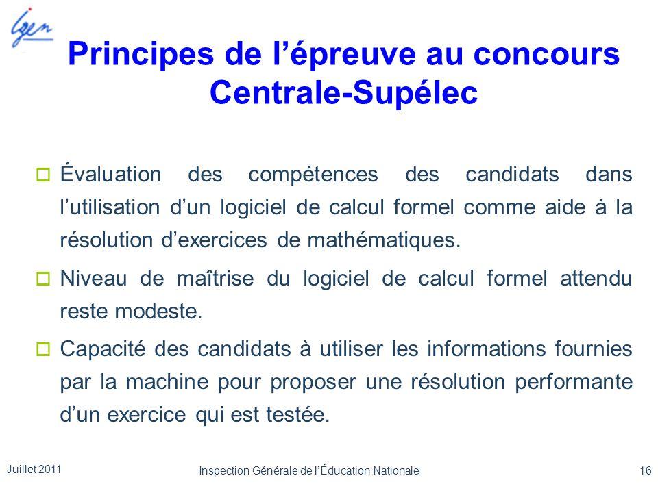 Principes de lépreuve au concours Centrale-Supélec Évaluation des compétences des candidats dans lutilisation dun logiciel de calcul formel comme aide