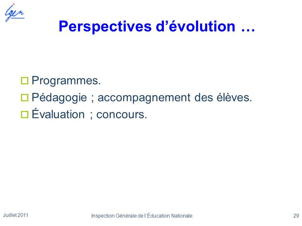 Perspectives dévolution … Programmes. Pédagogie ; accompagnement des élèves. Évaluation ; concours. Juillet 2011 29Inspection Générale de lÉducation N