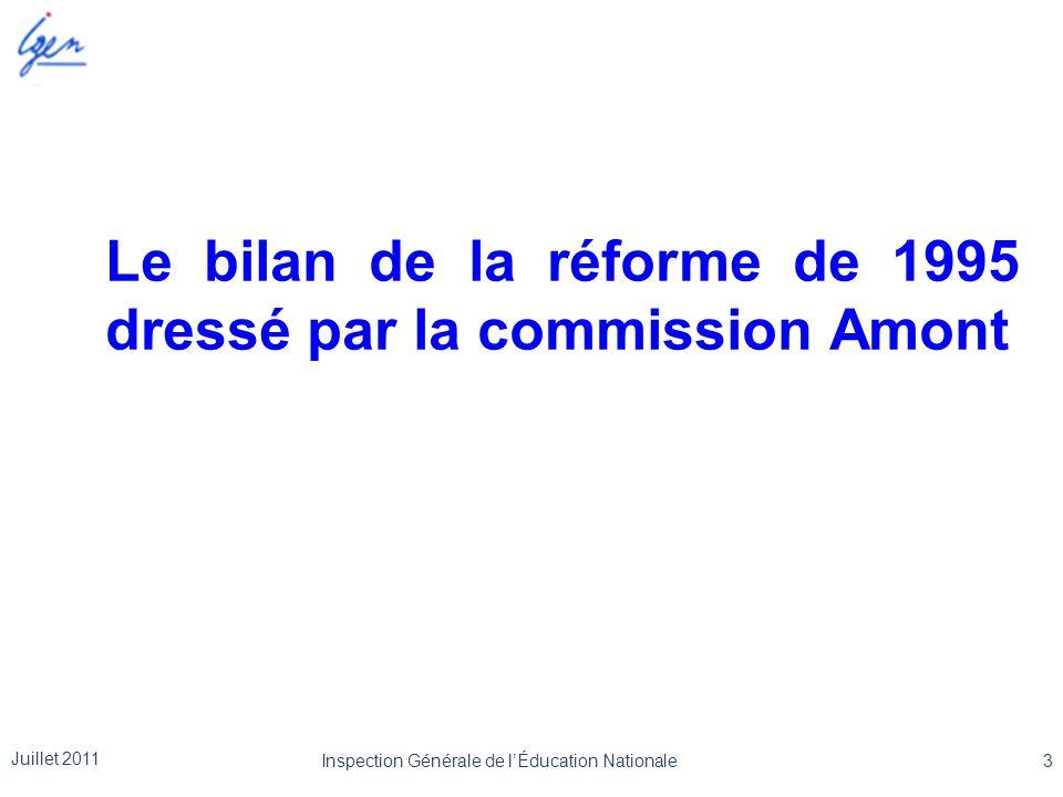 Le bilan de la réforme de 1995 dressé par la commission Amont Juillet 2011 3Inspection Générale de lÉducation Nationale