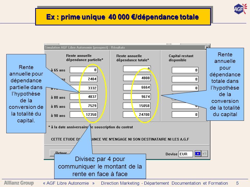 « AGF Libre Autonomie » Direction Marketing - Département Documentation et Formation 5 Rente annuelle pour dépendance partielle dans lhypothèse de la conversion de la totalité du capital.