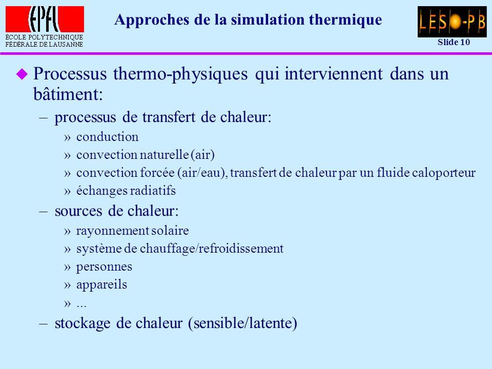 Slide 10 Approches de la simulation thermique u Processus thermo-physiques qui interviennent dans un bâtiment: –processus de transfert de chaleur: »conduction »convection naturelle (air) »convection forcée (air/eau), transfert de chaleur par un fluide caloporteur »échanges radiatifs –sources de chaleur: »rayonnement solaire »système de chauffage/refroidissement »personnes »appareils »...