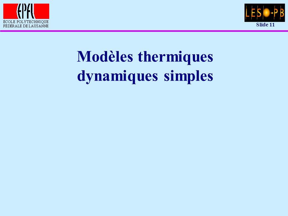 Slide 11 Modèles thermiques dynamiques simples