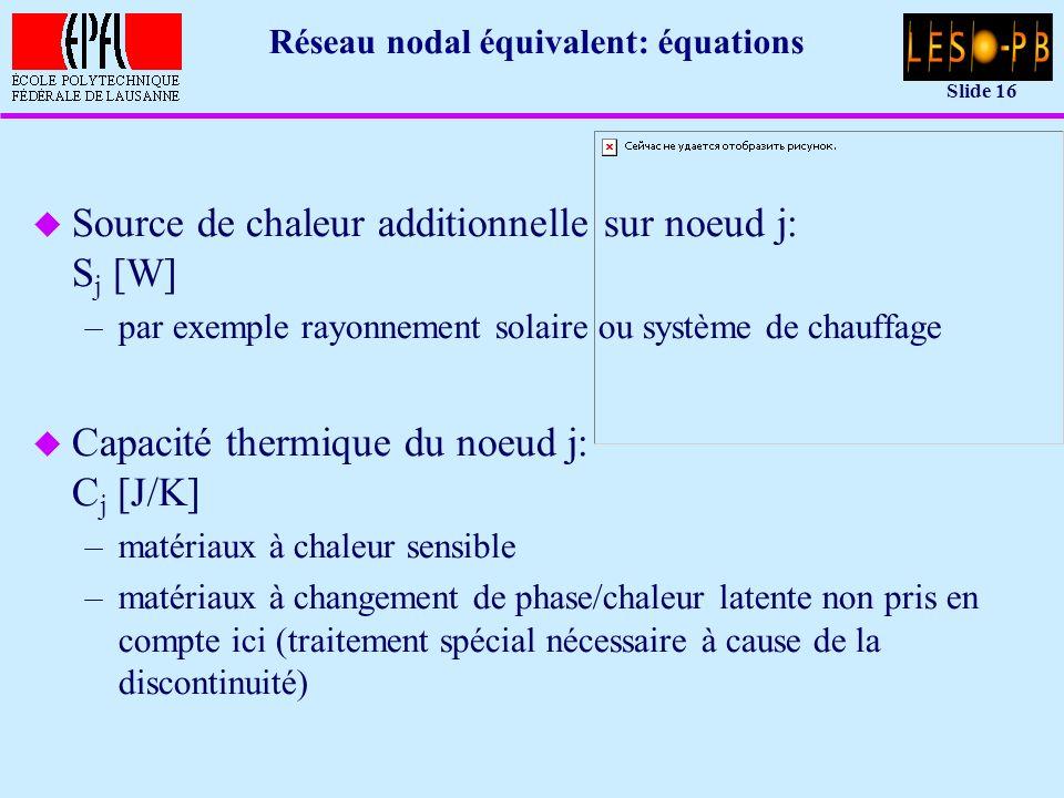 Slide 16 Réseau nodal équivalent: équations u Source de chaleur additionnelle sur noeud j: S j [W] –par exemple rayonnement solaire ou système de chauffage u Capacité thermique du noeud j: C j [J/K] –matériaux à chaleur sensible –matériaux à changement de phase/chaleur latente non pris en compte ici (traitement spécial nécessaire à cause de la discontinuité)