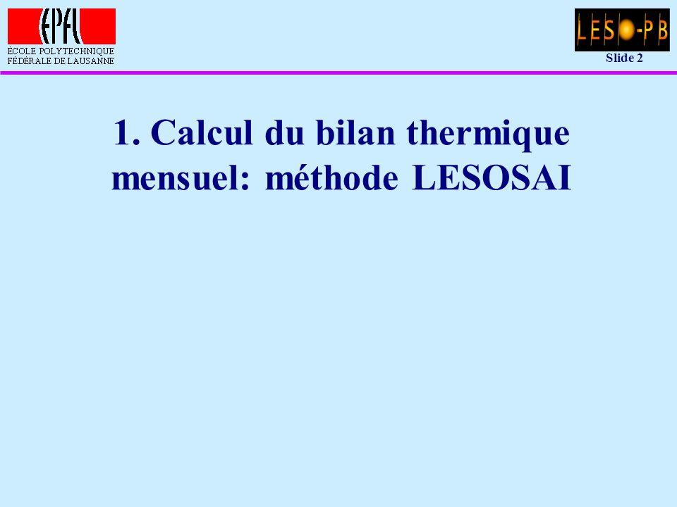 Slide 13 Modèle simple: réseau nodal équivalent u Approximation du modèle de bâtiment: –un ensemble de noeuds , c est-à-dire de zones que l on peut considérer à température homogène, ou dont certaines parties n ont que peu d influence sur la chaleur stockée –des connexions thermiques entre ces noeuds par des conductances équivalentes –des sources de chaleur sur certains des noeuds u La méthode du réseau nodal équivalent: –peut être considérée comme une méthode par éléments finis (décomposition du bâtiment en éléments de taille variable) –nécessite une bonne compréhension de la physique du bâtiment si l utilisateur doit définir lui-même les noeuds de façon optimale