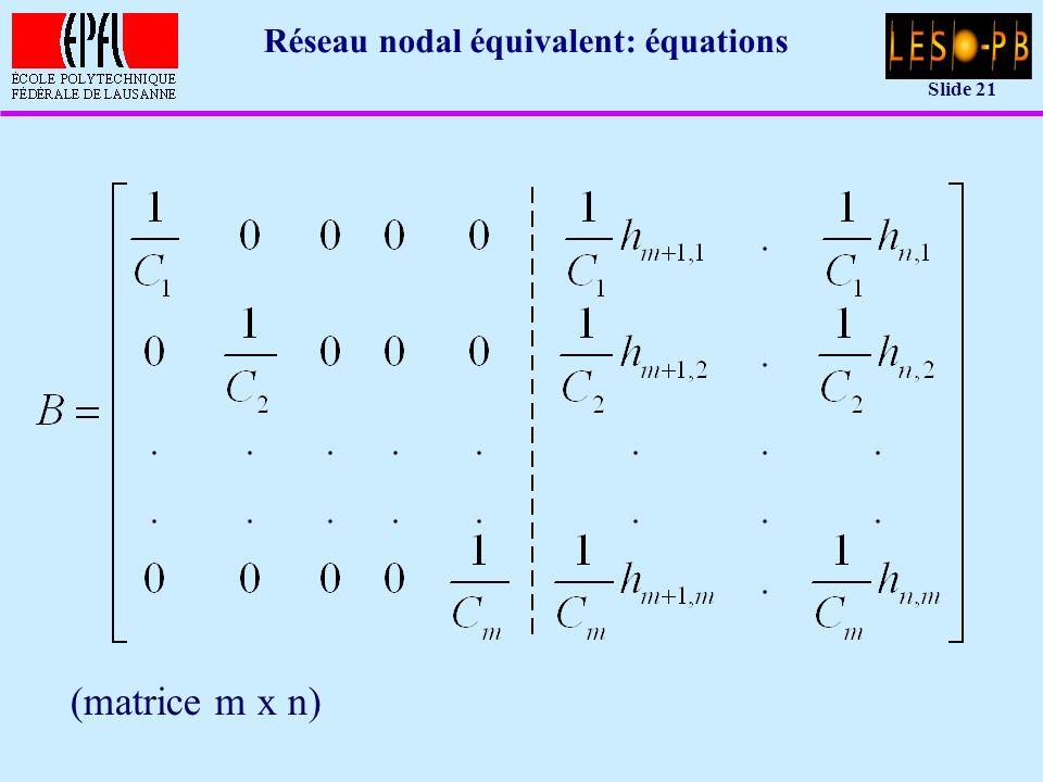 Slide 21 Réseau nodal équivalent: équations (matrice m x n)