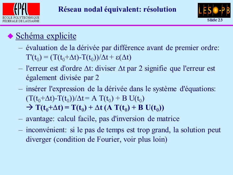 Slide 23 Réseau nodal équivalent: résolution u Schéma explicite –évaluation de la dérivée par différence avant de premier ordre: T (t 0 ) = (T(t 0 + t)-T(t 0 ))/ t + ( t) –l erreur est d ordre t: diviser t par 2 signifie que l erreur est également divisée par 2 –insérer l expression de la dérivée dans le système d équations: (T(t 0 + t)-T(t 0 ))/ t = A T(t 0 ) + B U(t 0 ) T(t 0 + t) = T(t 0 ) + t (A T(t 0 ) + B U(t 0 )) –avantage: calcul facile, pas d inversion de matrice –inconvénient: si le pas de temps est trop grand, la solution peut diverger (condition de Fourier, voir plus loin)
