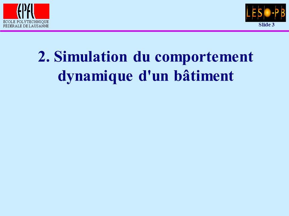 Slide 14 Modèle simple: réseau nodal équivalent u Hypothèses: –les noeuds 1,...,m sont les noeuds dont la température doit être calculée en fonction du temps (m = 2 pour l exemple) –les noeuds m+1,...,n sont les noeuds dont la température est donnée en fonction du temps (conditions aux limites; par exemple la température de l air extérieur; n = 3 pour l exemple)