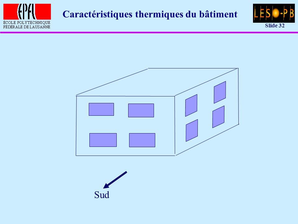 Slide 32 Caractéristiques thermiques du bâtiment Sud