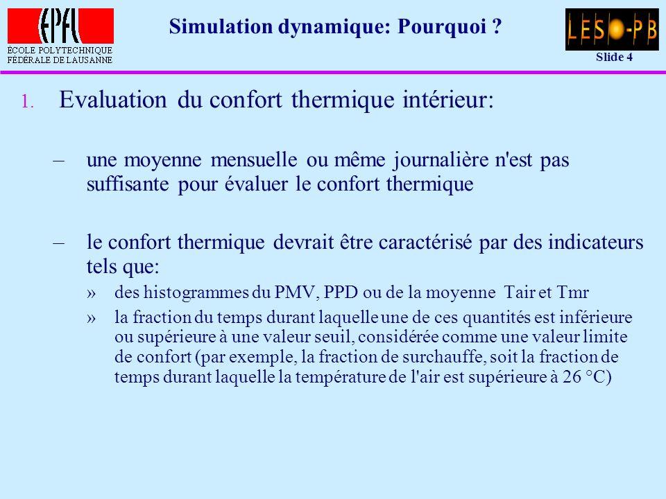 Slide 15 Réseau nodal équivalent: équations u Flux de chaleur du noeud i (température T i ) au noeud j (température T j ): q ij = h ij · (T i – T j ) u h ij [W/K]: conductance équivalente du noeud i au noeud j –conductance pure –conductance équivalente (par exemple à un couplage radiatif)