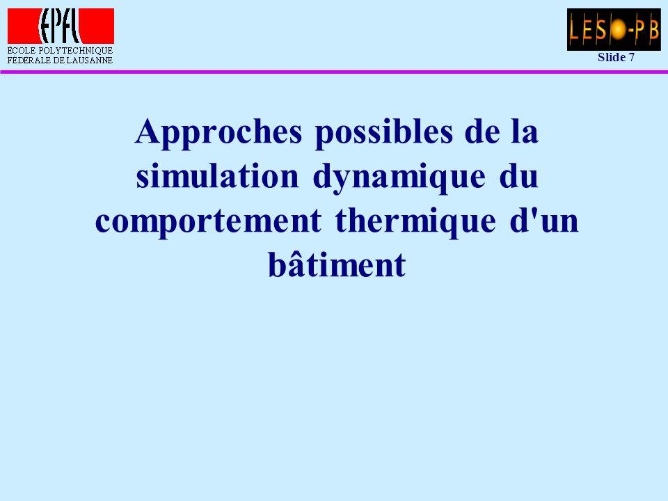 Slide 18 Réseau nodal équivalent: équations Notation matricielle: dT/dt = A T + B U avec: –T = vecteur des températures de noeuds (T 1,..., T m ) –U = vecteur des excitations extérieures (S 1,..., S m suivi par T m+1,...,T n ) –A, B = matrices du système d équations (possiblement dépendantes du temps ou des températures)