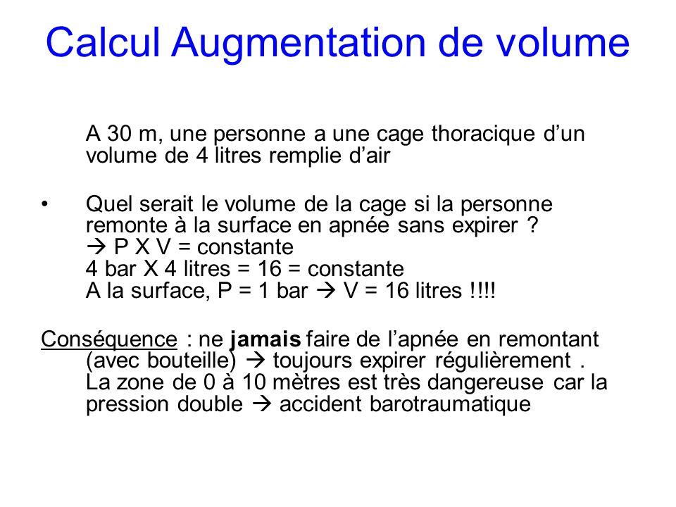 Calcul Augmentation de volume A 30 m, une personne a une cage thoracique dun volume de 4 litres remplie dair Quel serait le volume de la cage si la pe