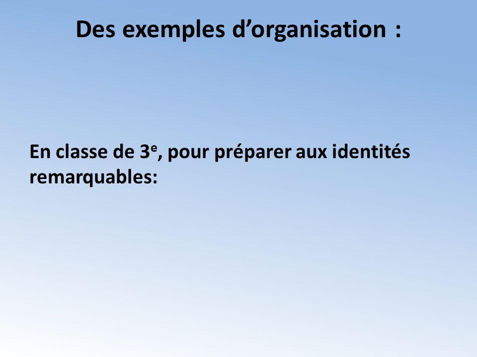 Des exemples dorganisation : En classe de 3 e, pour préparer aux identités remarquables: