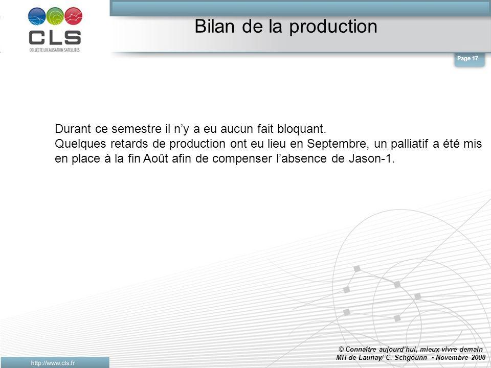 Bilan de la production © Connaître aujourdhui, mieux vivre demain MH de Launay/ C.