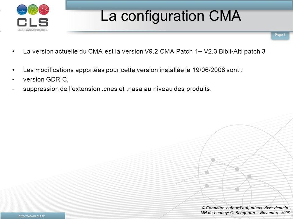 La configuration CMA La version actuelle du CMA est la version V9.2 CMA Patch 1– V2.3 Bibli-Alti patch 3 Les modifications apportées pour cette version installée le 19/06/2008 sont : -version GDR C, -suppression de lextension.cnes et.nasa au niveau des produits.