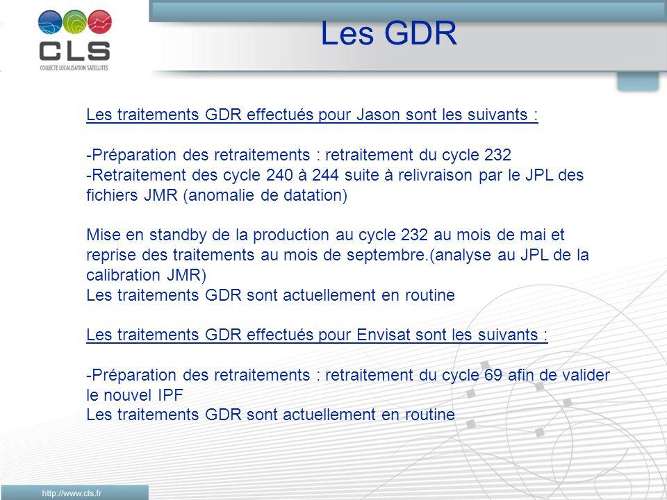Les GDR Les traitements GDR effectués pour Jason sont les suivants : -Préparation des retraitements : retraitement du cycle 232 -Retraitement des cycle 240 à 244 suite à relivraison par le JPL des fichiers JMR (anomalie de datation) Mise en standby de la production au cycle 232 au mois de mai et reprise des traitements au mois de septembre.(analyse au JPL de la calibration JMR) Les traitements GDR sont actuellement en routine Les traitements GDR effectués pour Envisat sont les suivants : -Préparation des retraitements : retraitement du cycle 69 afin de valider le nouvel IPF Les traitements GDR sont actuellement en routine