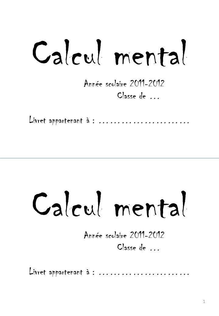 Problèmes dictés Calculs 2 Problèmes dictés Calculs