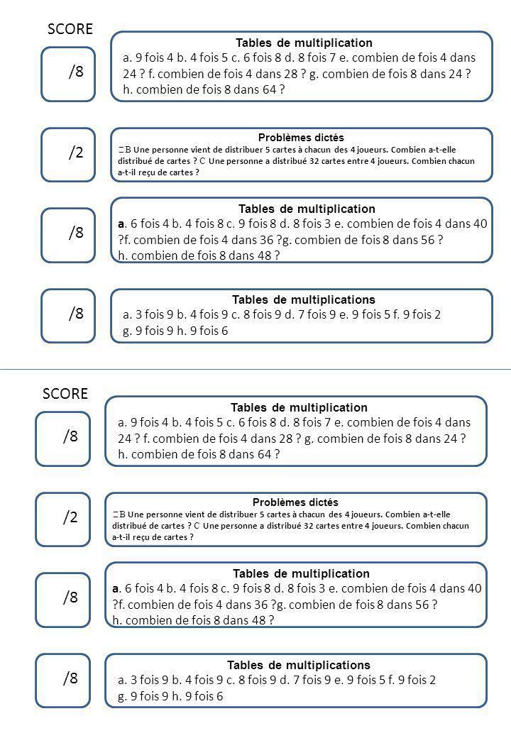 SCORE /8 /2 /8 Tables de multiplication a. 9 fois 4 b. 4 fois 5 c. 6 fois 8 d. 8 fois 7 e. combien de fois 4 dans 24 ? f. combien de fois 4 dans 28 ?